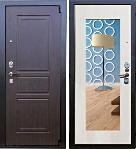 Дверь Зенит 5 с Зеркалом беленый дуб